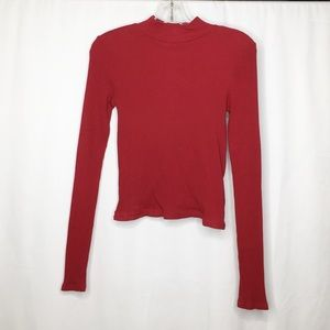 Free People Long Sleeve Red Lace Up Top Medium